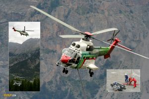 Helicoptere Travail Aerien Puma Alpes